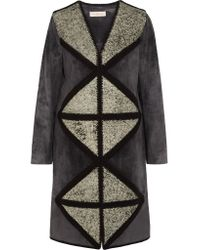 Tory Burch | Gray Cracked Leather-paneled Suede Coat | Lyst