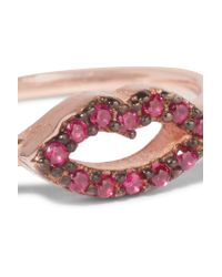 Aamaya By Priyanka - Multicolor Kiss Rose Gold-plated Crystal Ring - Lyst
