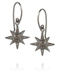 Iam By Ileana Makri | Metallic Oxidized Sterling Silver Diamond Earrings | Lyst