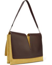 Jil Sander - Brown Cutout Leather And Suede Shoulder Bag - Lyst