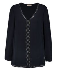 Tory Burch | Blue Embellished Silk Crepe De Chine Blouse | Lyst