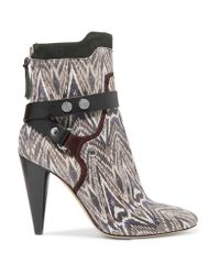 Isabel Marant   Natural Redford Snake-effect Leather Ankle Boots   Lyst
