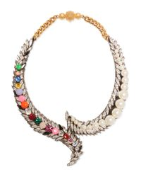 Shourouk | Metallic Piuma Gold-tone Crystal And Faux Pearl Necklace | Lyst
