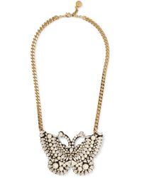 Shourouk | Metallic Gold-tone, Crystal And Faux Pearl Necklace | Lyst