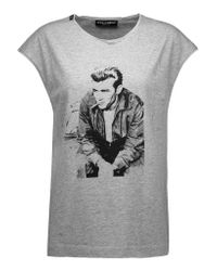 Dolce & Gabbana - Gray Printed Cotton-jersey T-shirt - Lyst