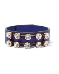 Marni | Blue Leather, Gold-tone And Crystal Bracelet | Lyst