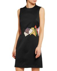 Christopher Kane - Black Guipure Lace And Mesh-paneled Hammered-satin Dress - Lyst