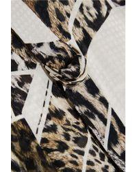 Preen By Thornton Bregazzi Black Chantal Printed Silk-jacquard Peplum Top