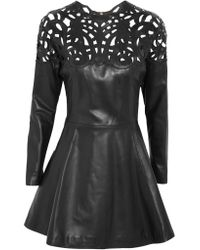 Valentino | Black Laser-cut Leather Mini Dress | Lyst