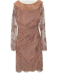 Valentino   Brown Tulle-paneled Gathered Lace Dress   Lyst