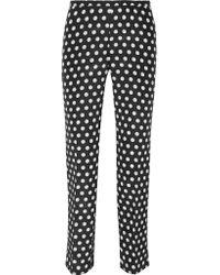 Rochas - Multicolor Printed Cotton And Silk-blend Faille Slim-leg Pants - Lyst