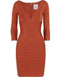 Hervé Léger | Red Cutout Bandage Dress | Lyst