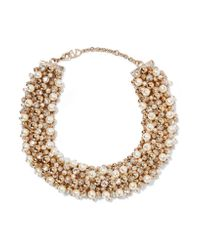 Valentino | Metallic Gold-tone, Faux Pearl And Crystal Necklace | Lyst