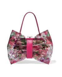 RED Valentino | Pink Leather-trimmed Printed Pvc And Canvas Shoulder Bag | Lyst
