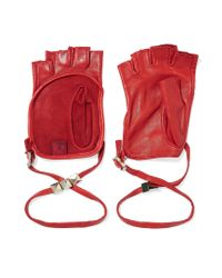 Valentino | Red Studded Leather Fingerless Gloves | Lyst
