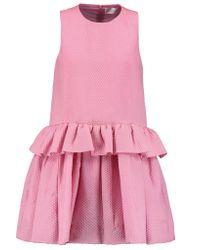 Victoria, Victoria Beckham | Blue Matelassé Peplum Mini Dress | Lyst