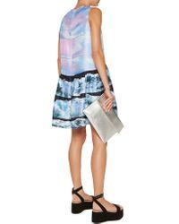 Victoria, Victoria Beckham - Blue Printed Silk Mini Dress - Lyst