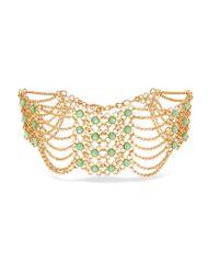Ben-Amun - Green Gold-tone Stone Necklace - Lyst
