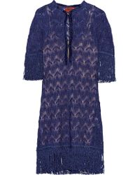 Missoni | Purple Fringed Metallic Crochet-knit Dress | Lyst