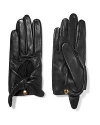 Causse Gantier | Black Helena Bow-embellished Leather Gloves | Lyst