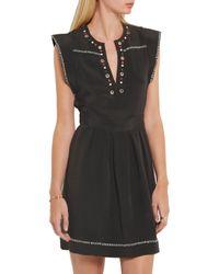 Isabel Marant - Black Button And Eyelet-embellished Silk-twill Mini Dress - Lyst