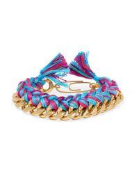 Aurelie Bidermann | Blue Do Brasil Gold-plated Braided Cotton Bracelet | Lyst