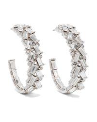 Kenneth Jay Lane | Metallic Silver-tone Crystal Hoop Earrings | Lyst
