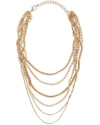 Kenneth Jay Lane - Metallic Layered Gold-tone Necklace - Lyst