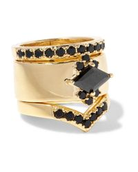 Noir Jewelry | Metallic Jack Frost Set Of Three Gold-plated Crystal Rings | Lyst