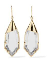 Noir Jewelry | Metallic White Radiance Gold-tone Crystal Earrings | Lyst