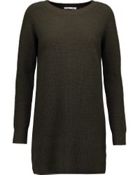 Helmut Lang | Green Ribbed Wool And Cashmere-blend Mini Dress | Lyst