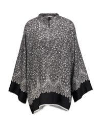 Helmut Lang | Black Floral-print Silk Kimono Top | Lyst