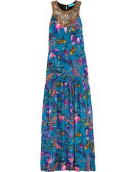 Matthew Williamson | Blue Embellished Printed Washed-silk Maxi Dress | Lyst