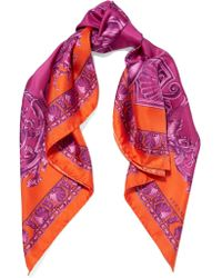 Versace - Purple Printed Silk-satin Twill Scarf - Lyst