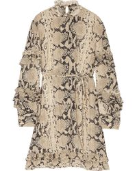Roberto Cavalli | Multicolor Snake-print Ruffled Silk-blend Mini Dress | Lyst
