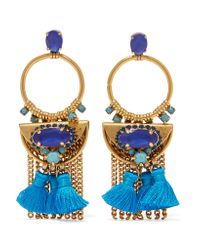 Elizabeth Cole | Blue Tasseled Burnished Gold-plated Swarovski Crystal Earrings | Lyst
