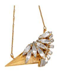 Elizabeth Cole - Metallic Wayde Burnished Gold-plated, Swarovski Crystal Necklace - Lyst