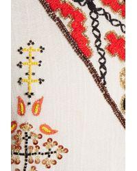 Alice + Olivia   White Ray Embellished Cotton-gauze Mini Dress   Lyst
