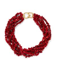 Kenneth Jay Lane | Red Beaded Resin Necklace | Lyst