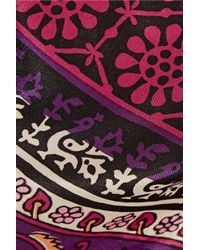 Anna Sui - Purple Printed Silk And Cotton-blend Mini Skirt - Lyst