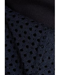See By Chloé - Blue Open Knit-paneled Cotton-jersey Sweater - Lyst