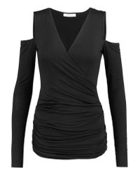 Bailey 44 | Black Cutout Shoulder Wrap-effect Jersey Top | Lyst