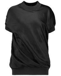 JOSEPH | Black Jersey-trimmed Silk-satin Top | Lyst