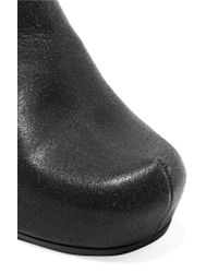 Rick Owens - Black Cracked-leather Wedge Ankle Boots - Lyst