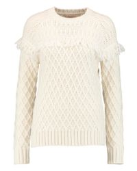 Tory Burch | Natural Fringed Cable-knit Wool Sweater | Lyst