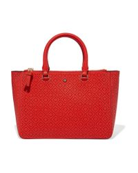 Tory Burch | Red Robinson Laser-cut Leather Tote | Lyst