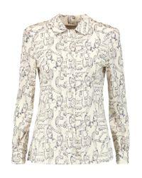Tory Burch | White Angelique Printed Stretch-silk Shirt | Lyst