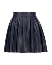 Alice + Olivia | Blue Box Pleat Leather Skirt | Lyst