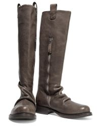 Brunello Cucinelli | Brown Textured-leather Knee Boots | Lyst
