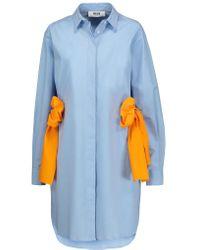 MSGM - Blue Stretch Cotton-blend Poplin Shirt Dress - Lyst